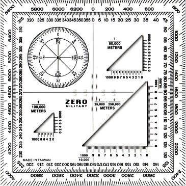 ZERO(ゼロ)ミリタリー プロトラクター [KR007]《蓄光目盛り付》[製図 作成 器具][定規]