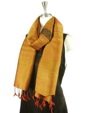 ベトナム 少数民族 ターイ族 手織り 民族布 シルク メンズストール ショール