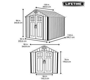 LIFETIMEライフタイム 屋外倉庫 大型物置 キングサイズ 屋外物置 245cm×305cm 8' X 10' Ft組立て式 大型物置/倉庫(樹脂製)代引き不可