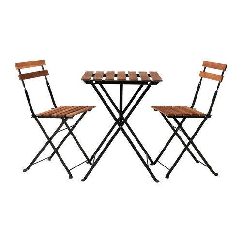 送料無料【IKEAイケア】TARNOガーデンテーブルセットテーブル&チェア2脚, アカシア材, スチール