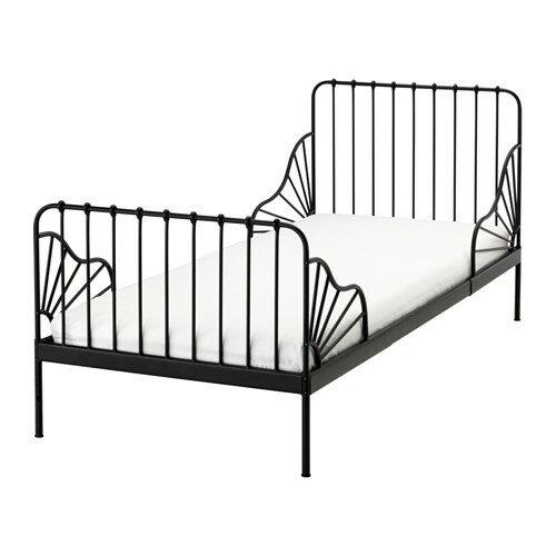 送料無料 IKEA イケア MINNEN 伸長式ベッドフレームとすのこ(組み合わせ) ブラック 成長に合わせて長く使える!の写真