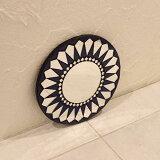 壁掛けミラー モザイク柄 丸型 鏡 ブルー 20cm
