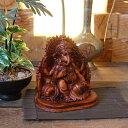 象の神様 ガネーシャの置物 ブラウン H14cm バリ島 インテリア オブジェ