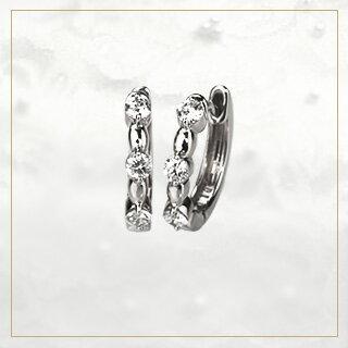 プラチナ中折れ式ダイヤフープピアス(12mm)sb0032pt-061217*2(sb0032pt):ジュエリー専門店Carat
