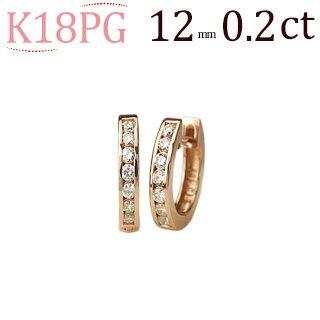 K18ピンクゴールド中折れ式ダイヤフープエタニティピアス(0.20ct)(12mm)(18金 18k PG製)(sb0050pg):ジュエリー専門店Carat