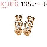 K18ピンクゴールド中折れ式ダイヤフープピアス(0.04ct)(13.5mm)(18金 18k PG製)(sb0081pg)
