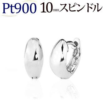 Platinum (Pt900) pre-bent hoop earrings (made of 10 mm spindle, Japan) (sad10pt)