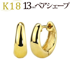 K18YG hoop pierced earrings