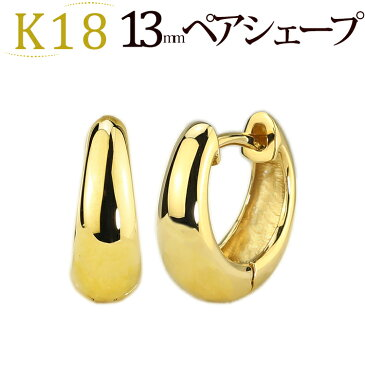 K18中折れ式フープピアス(13mmペアシェープ)(ティアドロップ しずく つゆ 雫 滴 18k、18金製)(sap13k18)
