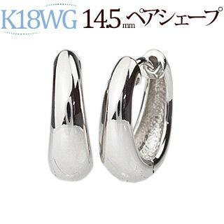 K18WG ホワイトゴールド 中折れ式フープピアス(14.5mmペアシェープ)(ティアドロップ しずく つゆ 雫 滴 18金 18k WG製)(sap145wg)