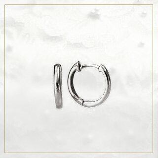 Platinum hoop pierced earrings 10mm round