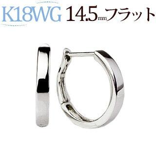【ご予約納期3~5週間】K18WGホワイトゴールドバネ式フープピアス(14.5mmラウンド、0.8mm芯、日本製)(satbf145wg-yk)