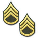 アメリカ陸軍 階級章 袖章 二等軍曹(E-6)【ゴールド/グリーン】