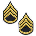 アメリカ陸軍 階級章 袖章 二等軍曹(E-6)【ゴールド/ブルー】