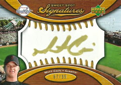 MLBカードMatt Cain 2007 Sweet Spot Signatures Gold Stitch Gold Ink 99枚限定!(67/99) / ...