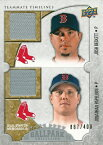 【ジョシュ・ベケット】【ジョナサン・パペルボン】 MLBカード Josh Beckett / Jonathan Papelbon 2009 UD Ballpark Collection Dual Swatch 087/400