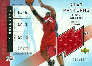 エルトン ブランド Elton Brand NBAカード 02/03 UD Authentics Stat Patterns Jersey 277/500
