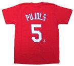 アルバート・プホルス MLB ネーム&ナンバー Tシャツ (日本サイズ M) セントルイス カージナルス #5/レッド (Albert Pujols)