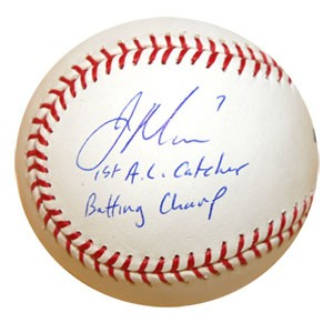 ジョー・マウアー 直筆サインボール 「1st AL Catcher Bat Champ」インスクリプション入り / Joe M...