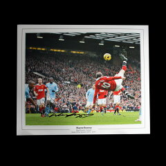 【ウェイン・ルーニー】 直筆サインフォト (Manchester derby Overhead Kick) / Wayne Rooney ...