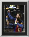 リオネル・メッシ 直筆サインフォト FC バルセロナ セレブレーション ネイマール 額装 (Lionel Messi Official Signed Barcelona Photo: Celebration with Neymar Jr vs PSG