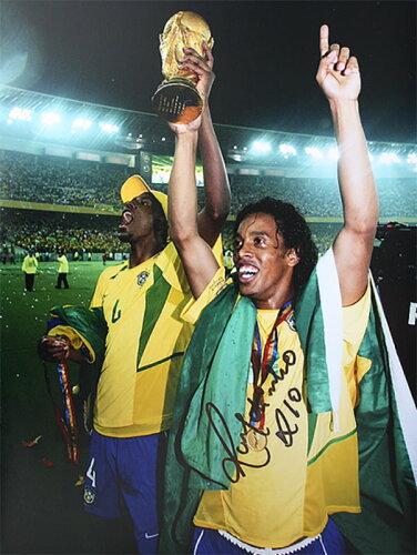 ロナウジーニョ 直筆サインフォト ブラジル代表 2002 FIFA ワールドカップ ウィナー (Ronaldinho S...