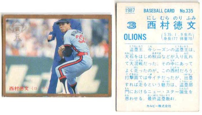 カルビー1987 プロ野球チップス No.335 西村徳文(金枠・B)