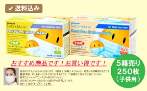 ◆5箱売り◆250枚入(1箱50枚入)◆◆キッズ用マスク◆風邪予防・アレルギー・花粉症など多方面...