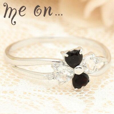 【meon...】モノトーンの格調高いファッションリング~幸せを呼ぶ四つ葉の指輪◆K10ホワイトゴールド(WG)オニキス・ホワイトトパーズ・プチ天然ダイヤモンド付きクローバーモチーフリング【発送目安:2~3週間】