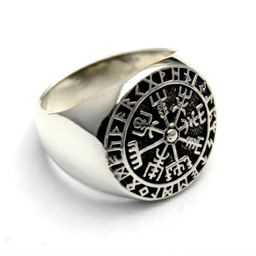ヴェグヴィシルVegvisirヴァイキングルーン北欧コンパス羅針盤シルバー925リング指輪アクセサリー