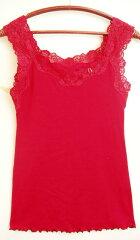 日本製 Shalom(シャローム)幸せの赤い下着綿ニットフライス素材レース付ノースリーブインナ...