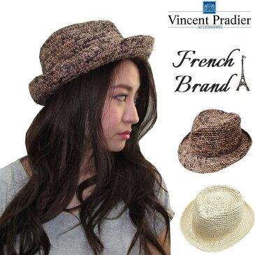 【最終処分】Vincent Pradier ヴァンサン プラディエ ラフィア 中折れハット HAT BLACK BROWN 帽子 レディース 麦わら 夏 メンズ リゾート レジャー フェス