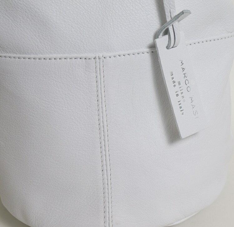 Marco Masi マルコマージ 巾着バッグ ブラック ホワイト バッグ レディース イタリア製 牛革 本革 レザー トートバッグ