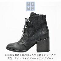 ◇2017a/w新作モマ◇MOMA[モマ]オイルヌバックレザーレースアップデザインチャンキーヒールショートブーツ89704