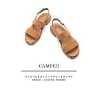 ◇2018S/S新作◇CAMPER[カンペール]ダブルベルトストラップフラットサンダルブラウンEdyK200387