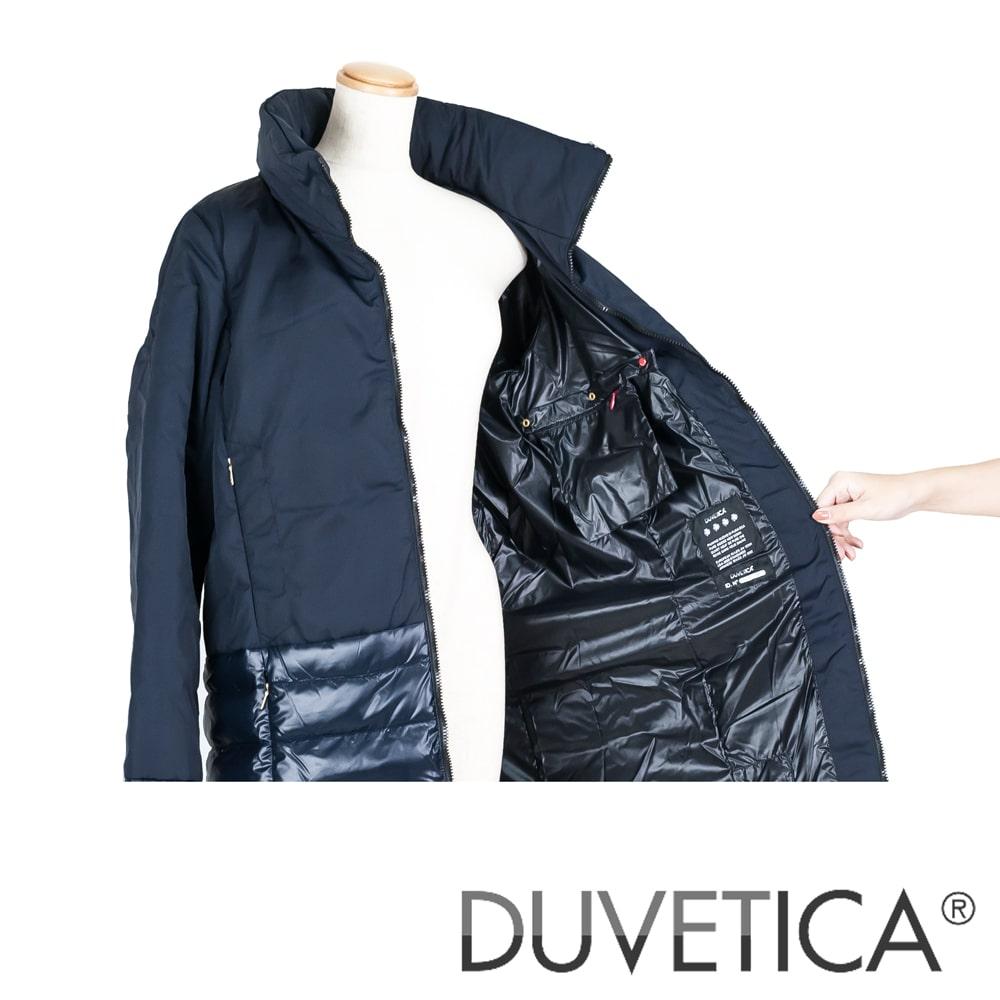◇DUVETICA [デュベティカ]スタンドカラーコンビネーションダウンジャケット8A NORA 770-BLU NAVY ネイビー