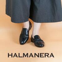 ◇2018S/S新作◇HALMANERA[ハルマネラ]シャーリングデザインバブーシュタイプスリッポンブラックELISIANE01
