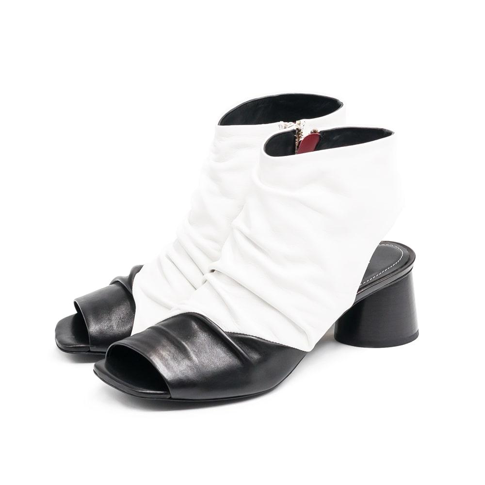 ◇HALMANERA[ハルマネラ]スクエアトゥバイカラーブーツサンダル9S ブラックホワイト giudit01