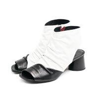 ◇HALMANERA[ハルマネラ]スクエアトゥバイカラーブーツサンダル9Sブラックホワイトgiudit01
