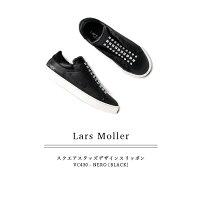 ◇2018S/S新作LarsMoller[ラースムラー]スクエアスタッズデザインシューレースレススリッポンVC430ブラック