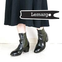 ◇Lemargo[レマルゴ]バックジップサイドゴアデザインショートブーツ8AAP06Aカーキ