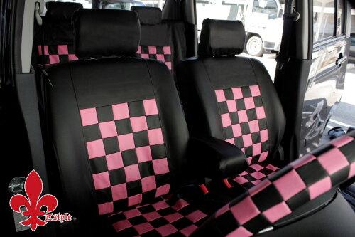 軽自動車用 シートカバー超かわいい ブラック&ピンク送料無料カラー黒×ピンクZ-styleピンクマニ...