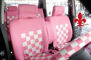 軽自動車汎用タイプピンクマニアチェックシートカバー