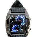 腕時計 スピードメーター モチーフ ウォッチ LED デジタル 青 ブルー ラバーベルト 防水 幅43mm カレンダー