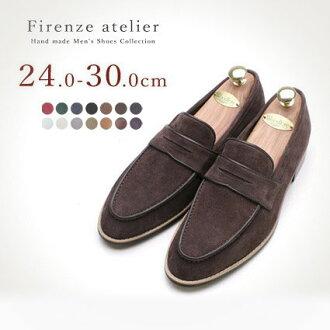 皮鞋休閒人Firenze Atelier硬幣低毛皮懶漢鞋(osharesurippon懶漢鞋人低毛皮鞋樣子好的鞋名牌紳士鞋休閒)