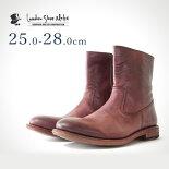 ワークブーツ(ボルドー)LondonShoeMake(ロンドンシューメイク)グッドイヤーメンズ本革レザーショートブーツ