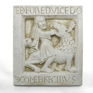 意大利制造的石膏浮雕古董壁挂三星和狮子摩德纳Nonantra修道院旧约大理石西方雕塑复制品30×35cm pdm-371