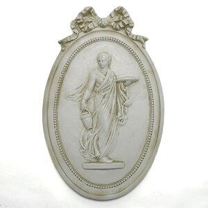 イタリア製 石膏 レリーフ アンティーク調 壁掛け 古代ローマ 春の女神 楕円 メダイヨン リボン 32×51cm pdm-404