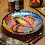 南イタリア レッチェ フィッシュ柄 大皿 魚 絵皿 φ35 アクア 青 丸皿 パーティーサイズ 食器 素焼き テラコッタ 陶器製 art-6037