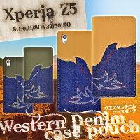 XperiaZ3Z4Z5Z5compactカバー(SO-01H/SO-02H/SOV32/501SO/SOL26/SO-01G/401SO/SO-03G)用ウエスタンデニムケースポーチ【エクスペリアz5カバーエクスペリアz3エクスペリア手帳手帳型ケースso01hso01gz3401SO】